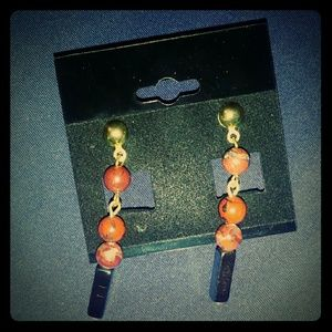 Jewelry - Amber Beads and Hematite Gold Post Earrings